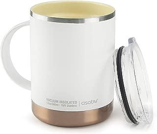Asobu Ultimate Stainless Steel Ceramic Inner Coating Insulated Travel Mug 14 Ounce(White)