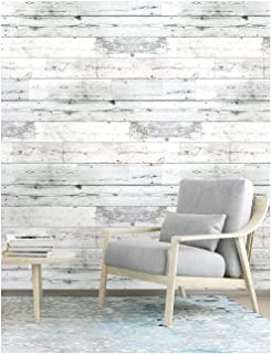 Wood Peel and Stick Wallpaper Shiplap Grey/White Removable Distressed Wood Grain Self-Adhesive Wallpaper,Waterproof Contact Paper for Home Decaration 17.7''x118.1''