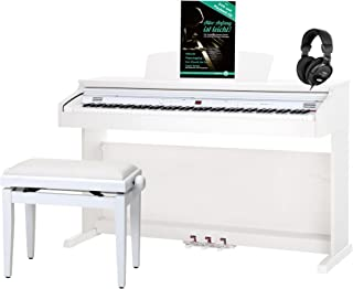 Classic Cantabile DP-50 WM piano, blanco mate, con banqueta