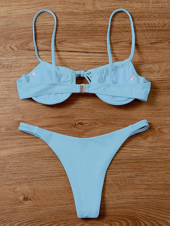 SOLY HUX Women's Spaghetti Strap Tie Front Bikini Bathing Suit 2 Piece Swimsuits