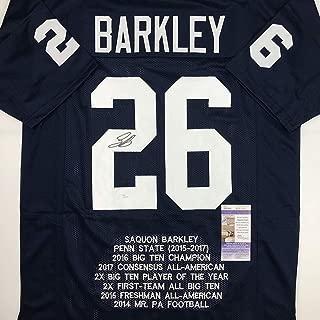 Autographed/Signed Saquon Barkley Penn State Blue Stat College Football Jersey JSA COA