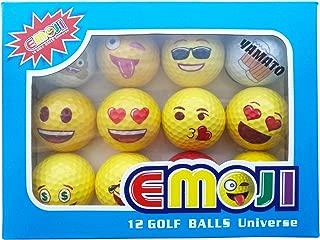 yamato Premium Emoji Golf Balls, 12 Pack Dual-Layer Novelty Professional Practice Golf Balls, Novelty Gift for All Golfers