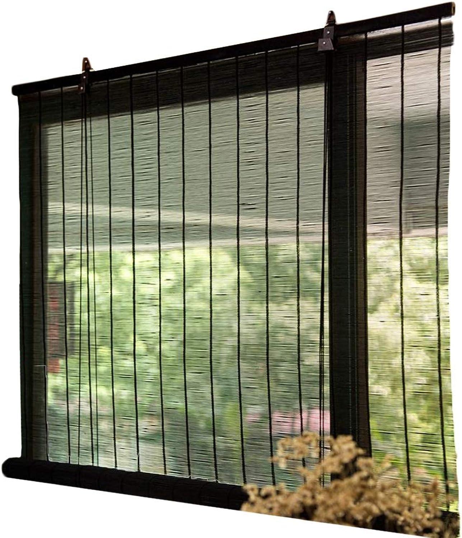 echa un vistazo a los más baratos HYDT HYDT HYDT Persianas de la Ventana del Rodillo de bambú Negro con Gancho for Arriba, persianas de la Sombra del Sol del oscurecimiento verdeical for el Divisor de la habitación del Pasillo, Anchura 50-140cm  A la venta con descuento del 70%.
