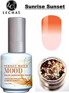 LeChat Perfect Match Mood Color Changing Gel Polish (with Nail Glitter Kit) LED & UV Cured Soak Off Nail Formula 0.5 oz (Sunrise Sunset)