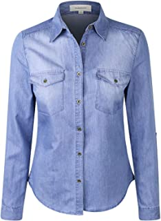 makeitmint Women's Casual Washed Pocket Soft Button Down Denim Shirt Blouse