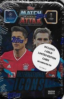 Match Attax 2020 2021 Topps UEFA チャンピオンズリーグ サッカー トレーディングカードゲーム 密封 MEGA コレクターズ缶 ボーナスゴールドカードと専用インサート付き