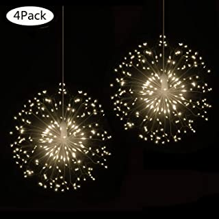 4 Pack 198 LED Firework Copper Lights,8 Modes Dimmable String Fairy Lights with Remote Control, Hanging Starburst Lights for Parties,Home,Christmas Outdoor Decoration (4 Pack, Warmwhite Dandelion)