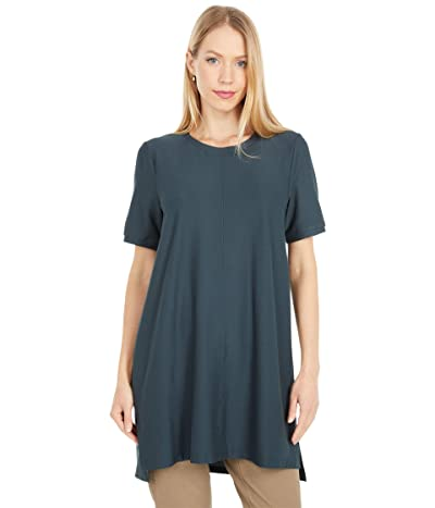 Eileen Fisher Crew Neck Short Sleeve Tunic (Forest Night) Women