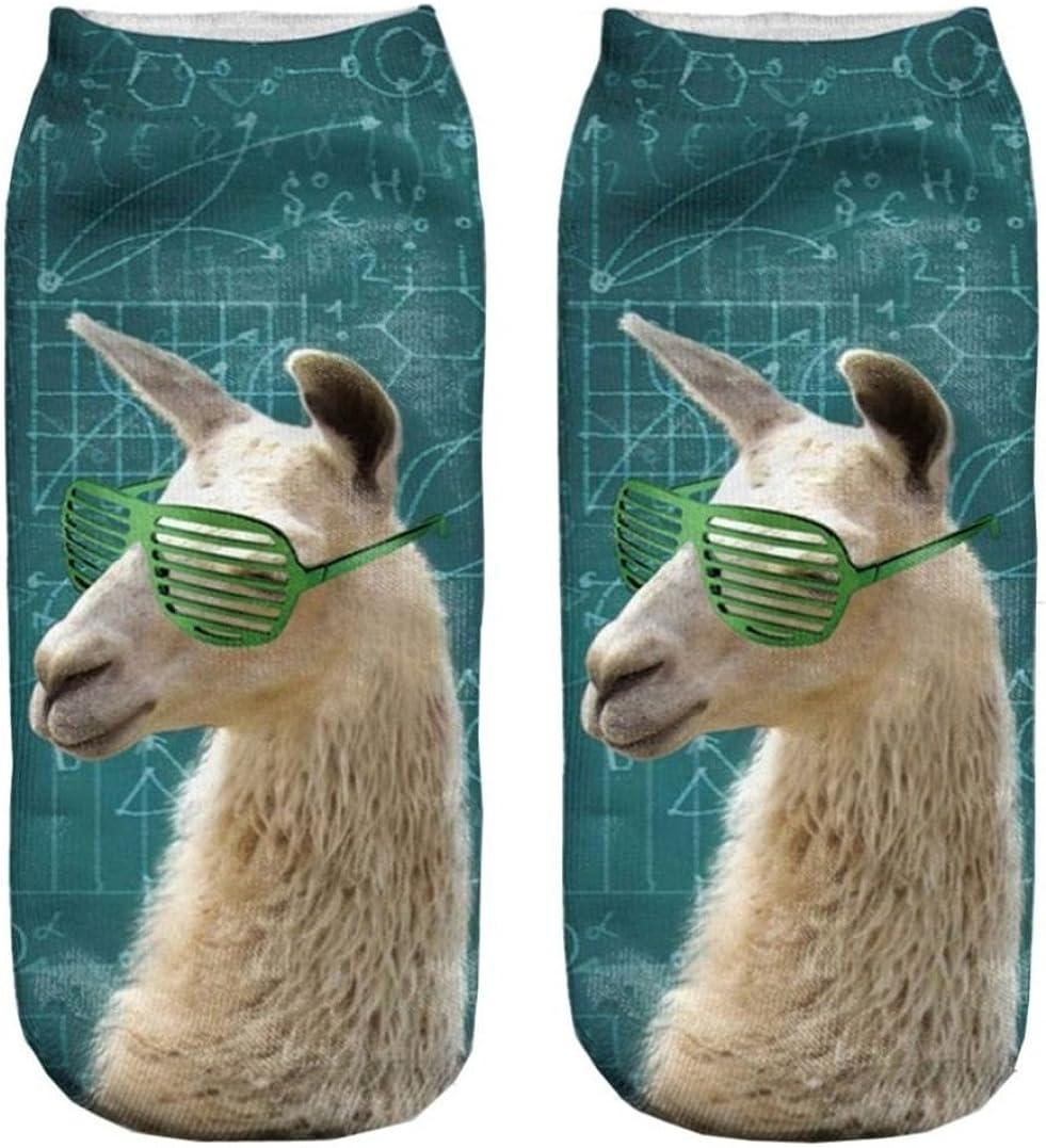 Doxi 3D Printed Unisex Cute Low Cut Ankle Socks Harajuku Style Math Lama Free Size