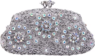 Fawziya Floret Kiss Lock Flower Purse Bling Box Crystal Clutch Evening Bag