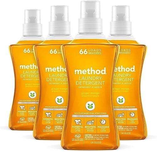Method Liquid Laundry Detergent, Hypoallergenic + Biodegradable Formula, Plant-Based Stain Remover, Ginger Mango Scen...