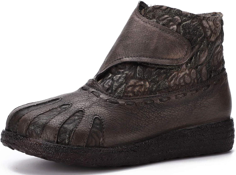 Women's Nylon Ankle Boots Chelsea Vintage Embossed Ankle Boots Women's Leather Non-Slip Boots
