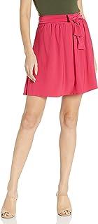 Star Vixen Women's Knee-Length Full Skater Skirt with Self-tie Bow Belt