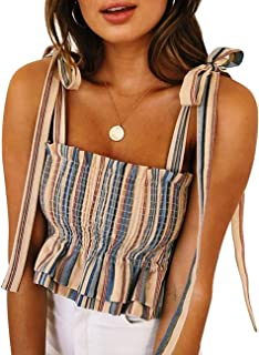 CILKOO Women's Frill Smocked Crop Tank Top Tie Shoulder Strap Vest(S-XXL) - - Small