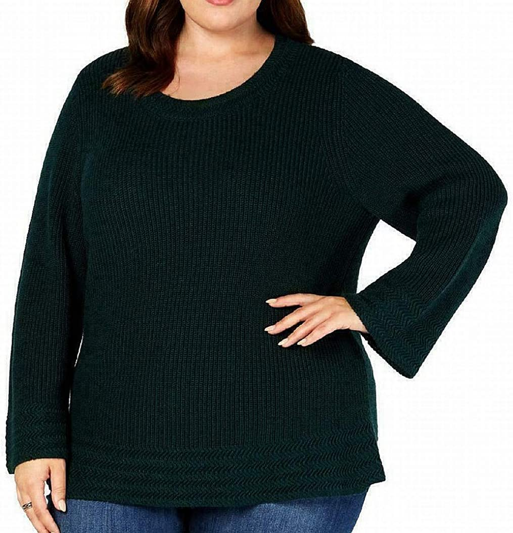 Style & Co. Womens Plus Chunky Long Sleeve Pullover Sweater Green 2X