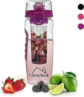 CampTeck 1 Litro 1000 ml Frutas Botella Agua Infusor (Plástico Tritan Sin BPA) Esencia Infusión con Tapa a Prueba de Fugas + Cierre y Asa
