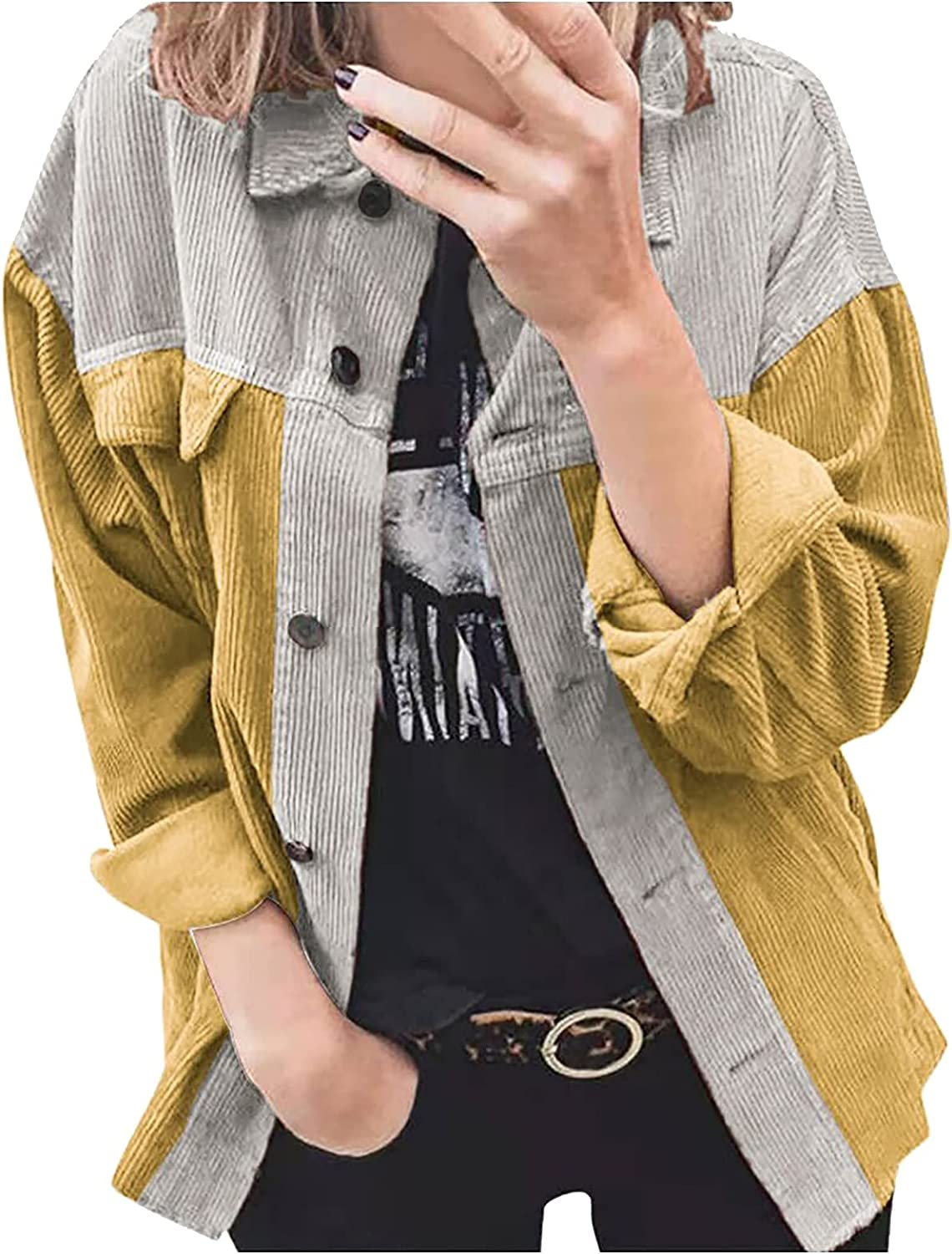 Winter Coats for Women Patchwork Button Long Sleeved Clothes Tops Sweater