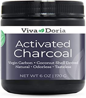 Viva Doria Virgin Activated Charcoal Powder, Coconut Shell Derived, Food Grade, 6 Oz