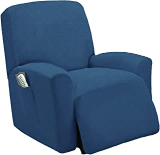 One piece Stretch Recliner Chair Furniture Slipcovers with Remote Pocket Fit most Recliner Chairs (Blue)