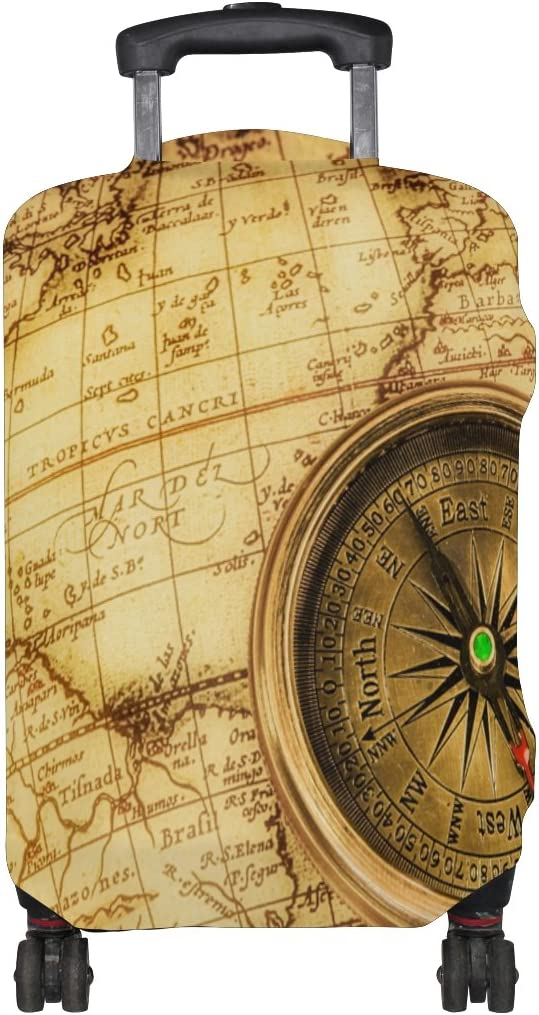 Vintage Old World Map Travel Luggage Protector Baggage Suitcase Cover Fits 18-21 Inch Luggage