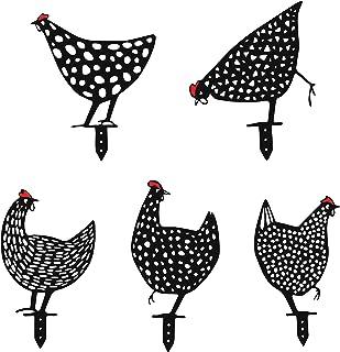 Yungeln 5 قطع فناء الدجاج الفن المعادن ساحة الدجاج حديقة ديكور حديقة كومة الجوف خارج شكل الحيوان ديكور ل الأرض حديقة الهوا...