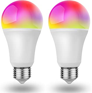 Smart Light Bulb Dimmable & Color Changing E26 A19 Led Light Bulbs Work with Alexa/Google Home, 850 Lumens 65 W Halogen Bulb Equivalent 5000K Daylight UL Certified 2 Pack