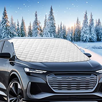 """Mumu Sugar Windshield Snow Cover, 5 Layers 78.7""""x48"""" Extra Large Wipers Protection, Snow,Ice,Sun Shade,Frost Defense,Magnetic Car Windshield Ice Snow Cover for Most Cars Trucks Vans and SUVs: image"""
