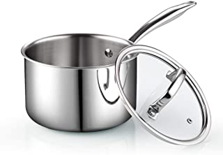 Cook N Home Tri-Ply Clad Stainless Steel Sauce Pan with Lid, 3 Quart, Silver