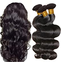 JINREN Brazilian Virgin Hair Body Wave Hair Weave 3 Bundles Full Head Set Unprocessed Virgin Human Hair Weave Natural Black 10-28inch (20inch 22inch 24inch)