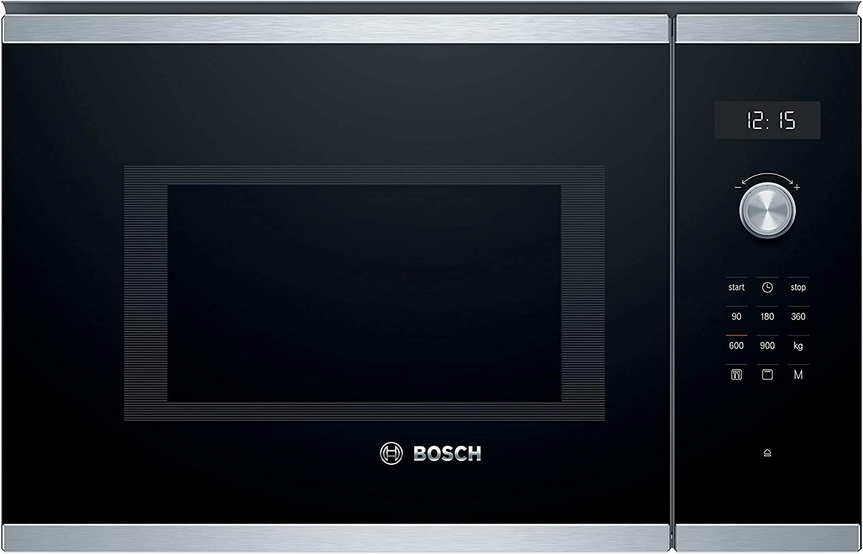 Bosch Bel554ms0 Serie 6 Einbau Mikrowelle 900 W 25 L Drehteller 31 5 Cm Türanschlag Links Edelstahl Autopilot 8 Grill Funktion Elektro Großgeräte