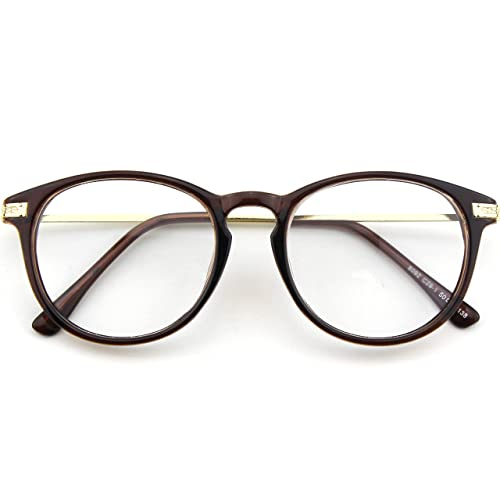 4d237258b43 CGID CN92 Fashion Keyhole Metal Temple Oval Horn Rimmed Clear Lens Glasses