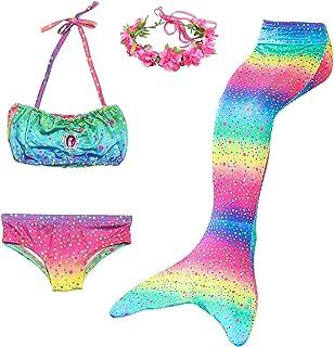 Cola de Sirena Niña 5pcs Traje de Baño Mermaid Bikini Establece Disfraz de Sirena Princesa Cosplay Conjuntos con Diadema d...