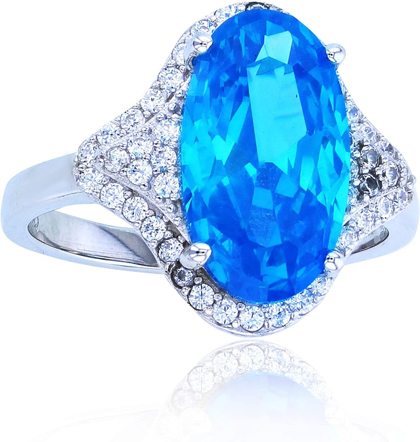 Superior A surprise price is realized Sterling Silver Rhodium 14x8mm Oval W Medium Center Blue Round