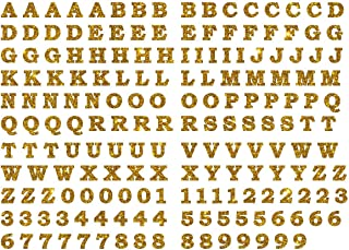2 cm Tall BOSB Vinyl Iron-on Letters Numbers, 5PCS of Each of 26 Letters and 10 Digits for Custom Jersey, Shirts and Clothing (Gold Glitter)