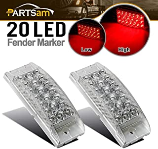"""Partsam 2Pcs 6"""" Rectangle Red Led Side Marker and Clearance Lights Trailer Truck Stop Turn Tail Brake Lights Clear Lens 20 Diodes with Reflectors Waterproof Sealed 2x6 Rectangular Trailer led lights"""