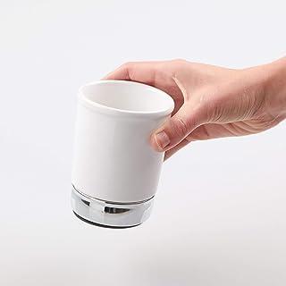 iDesign York Ceramic Tumbler Cup for Bathroom Vanity Countertops - White/Chrome