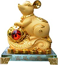Bwinka 2020 Feng Shui Chinese Zodiac Rat/Mouse Year Golden Resin Collectible Figurines Decoration for Luck & Wealth Perfect for Your Home or Office (MC-FZRY)