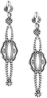 American West Sterling Silver Rope Flower Concho Long Dangle Earrings