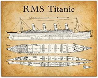 Titanic Blueprints - 11x14 Unframed Patent Print - Great Gift Under $15 for People Who Are Fascinated by The Titanic