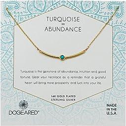 Turquoise=Abundance, Curved Bar with Turquoise Gem Stone Necklace