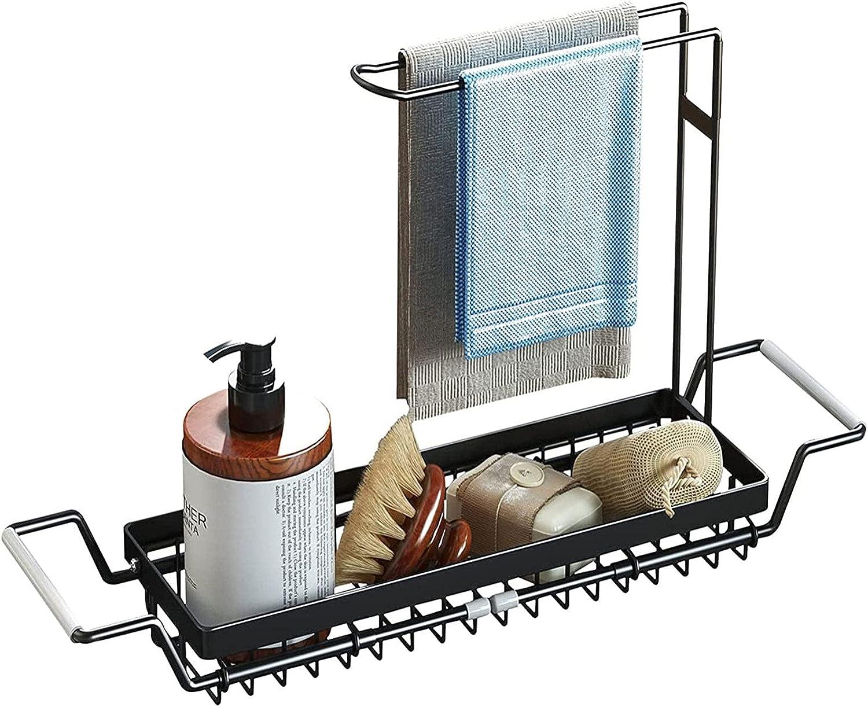 Soporte de esponja para fregadero de cocina, organizador de carrito de fregadero expandible con soporte de toalla para trapo de cocina, soporte de fregadero telescópico de acero inoxidable,Black-A
