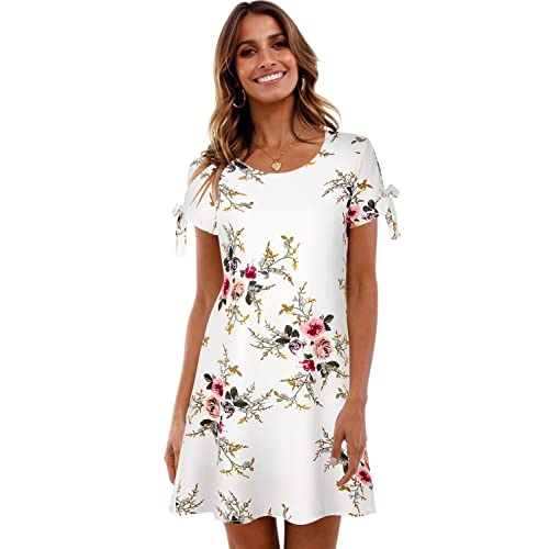 38c7c490788 BMJL Women s Dresses Cold Shoulder Tie Chiffon Floral Print Shift Short  Sleeve Flare Casual Loose Round
