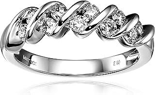 14k 白金钻石周年纪念戒指( 1 / 2 cttw,H - I 色,1 - I2 净度 )