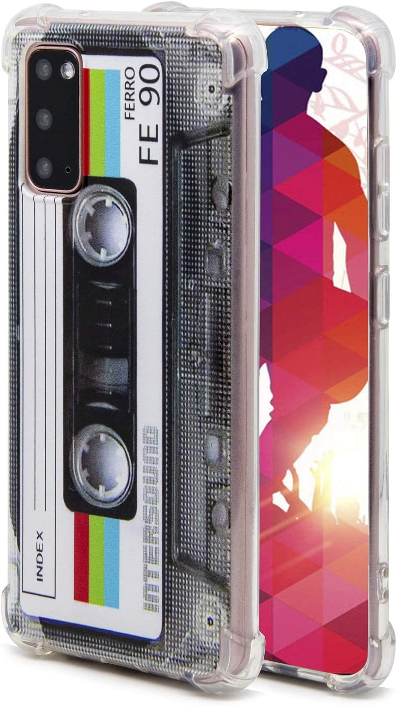 FAteamll Case for Galaxy S20,with Reinforced Corners TPU Soft Bumper Retro Cassette Tape Case Compatible with Samsung Galaxy S20