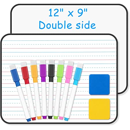 """Ruled Dry Erase Lapboard - BHY 2 Pack 11""""X 9""""Small Dry Erase Whiteboard with White/Line Board,8 Markers and 2 Erasers, Lined Double Side White Board for Kids Student Learning Writing Drawing"""