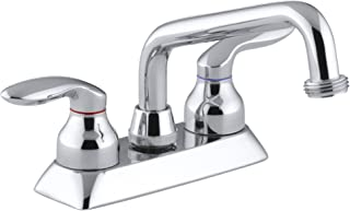 KOHLER K-15271-4-CP Coralais(R) Threaded spout and Lever Handles Utility Sink Faucets, Polished Chrome