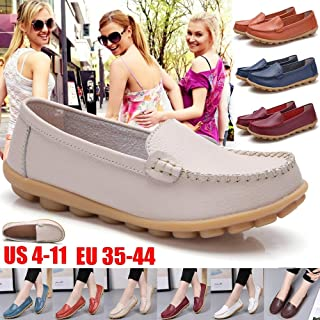 (11 Colors) Summer Women's Fashion Leather Flat Shoes Comfortable and Breathable Walking Driving Shoes(Navy,US10-EU42)