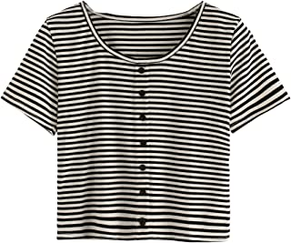 Women's Short Sleeve Button-Up Fitted Casual Striped Crop T-Shirt Top