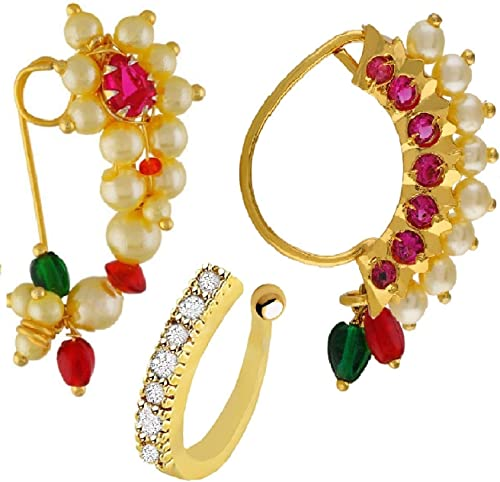 Vama Fashions Maharashtrian Nath Clip on Nose Ring Without Piercing for Women