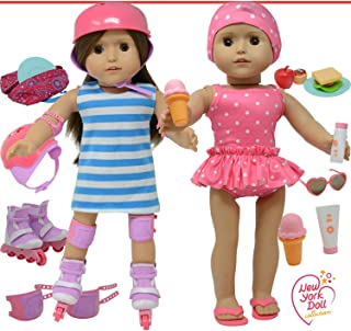 """The New York Doll Collection Doll Roller Skates -18"""" Doll Clothes - Doll Accessories Play Set Fits American Girl Dolls, Multicolor (709951192078)"""